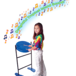 Girl Playing with Yellow & Blue Notes
